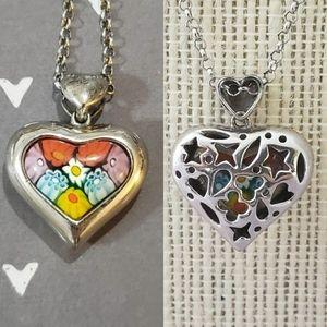 Alan K Sterling Silver Glass Heart Necklace